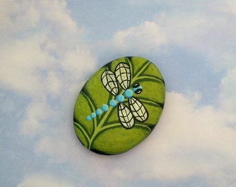 Paperweight-paper weights-unique OOAK collectible 3D garden art-teal turquoise dragonfly-chartreuse leaf-painted rocks-tableweight-decor