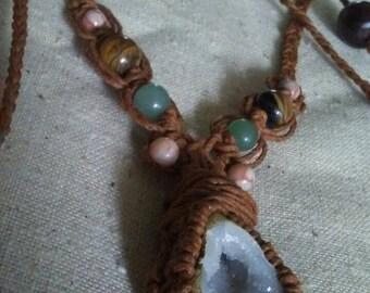 Geo Quartz Gemstone hemp necklace