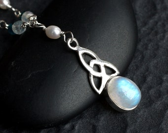"""Moonstone Necklace, Celtic Knot Necklace, London Blue Topaz, Pearl, Sterling Silver - """"Islay"""" by CircesHouse on Etsy"""