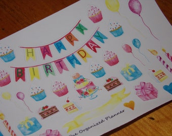 Hand Drawn Watercolor Birthday Stickers for your Planner / Scrapbooking / Party Stickers