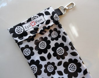 Epi Pen Pouch Clear Front / Swivel Clip Holds up to 2 Injector Pens ID Card Included - Womens Girls Black & White Flowers Pick Your Size