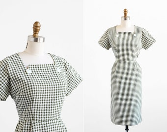 vintage 1950s dress / green dress / Cotton Wiggle Dress