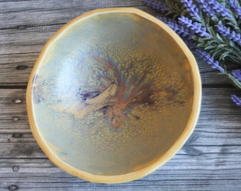 Rustic Stoneware Bowl with Leaf Motif in Yellow and Purple Glazes Stoneware Ceramic Pottery Bowl Ready to Ship Made in USA