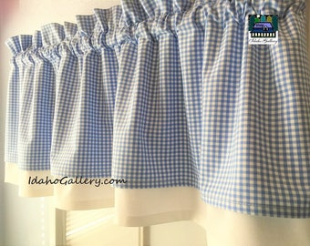 Periwinkle Blue and White Check Gingham Double Layered Kitchen Curtain Valance