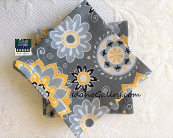 Fabric Napkins Set of 12 Suzani Gray Yellow Geometric Design Napkins Sustainable Reusable Go Green