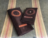 WILD HIDE Boarding Pass & Passport Wallet Set in Dark Brown Kangaroo Leather