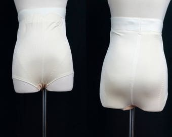 1970s High Waisted Shapewear Brief Girdle Underpants Granny Panties Body Shaper Waist Smoother Medium