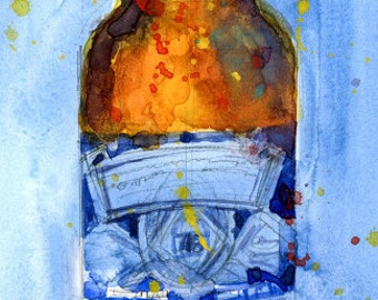 Bud Light BLUE 2017 - Budwiser American Beer Art Giclee or Watercolor Archival Print - perfect for man cave, beer bar or college Dorm