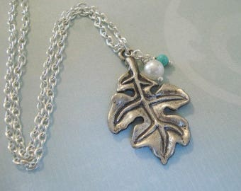 Silver Leaf Necklace Pearl Leaf Pendant Oak Leaf Charm Necklace with Pearl  Leaf Jewelry