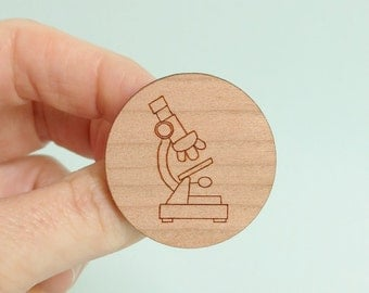 Microscope Brooch Wooden