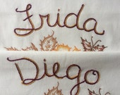 Frida Kahlo, Diego Rivera, Pillowcases, Hand embroidered, Vintage, Boho, Couples gift, Artists gift