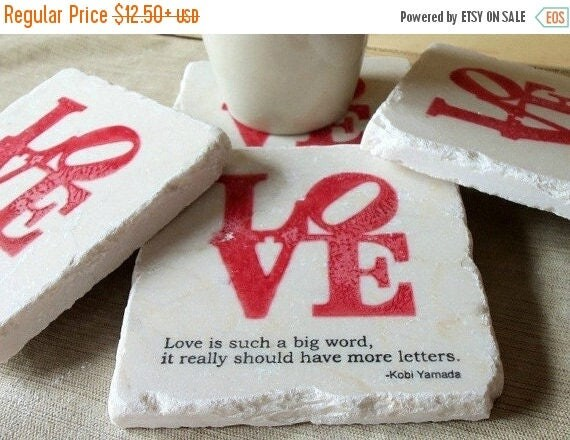 MEMORIALDAYSALE Love Coasters - Love is Such a Big Word - Absorbent Drink Coasters - Engagement - Anniversary - Bridal Shower Gift