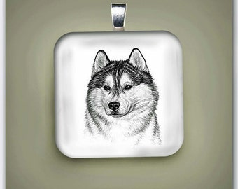Siberian Husky  Dog Fine Art Glass Pendant