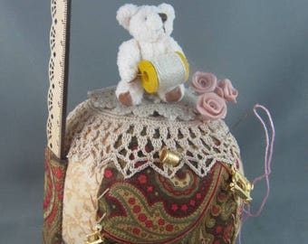 SOLD Large patchwork Pincushion, Mini Teddy Bear, ruler, gold charms, handmade pins