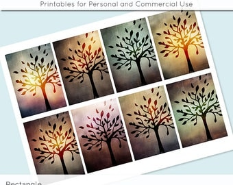 """Mystic Trees Digital Collage Sheet 2.5"""" x 3.5"""" Rectangle Images ATC ACEO Magnets Card Jewelry Holder Hang Tag Journaling Scrapbooking"""
