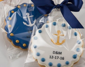 Anchor Cookies, Beach Favors, Nautical Sailboat party - 12 Decorated Sugar Cookie Favors