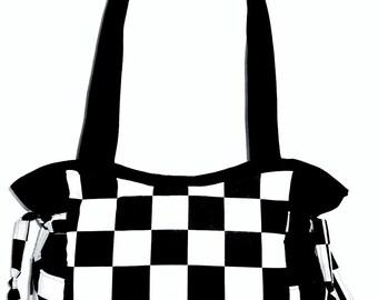 Black White Racing Checkered Flag - Handbag, Purse, Tote, Shoulder Bag, Outside Pockets