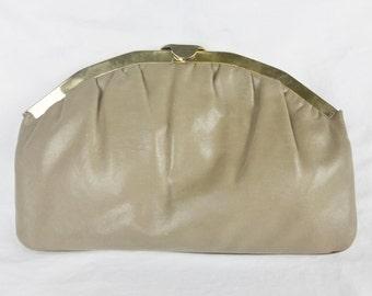 Vintage clutch evening bag chain tan