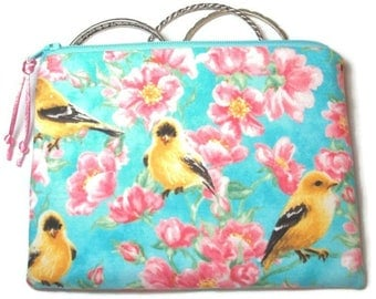 Padded Zipper Cosmetic Pouch in Goldfinch Garden Print