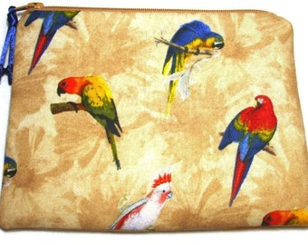 Padded Zipper Cosmetic Pouch in Perched Parrots Print with Tan Background