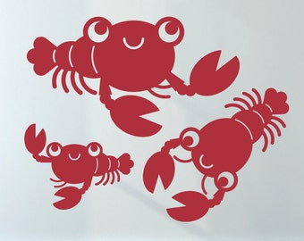 Happy Lobster Wall Decals: Baby Ocean Nursery Underwater Sea Life Nautical Theme Under the Sea Kids Room Decor