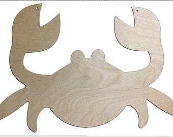Unfinished Wood Crab Door Hanger Wall Decor 17.5 inch tall x 23 wide