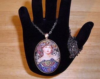 """Blue Mucha Lady with Glitter Pendant Necklace Antique Silver  24"""" Chain"""