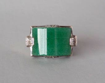 Art Deco Sterling Bombe Ring. Green Aventurine and Brilliants. Size 7.75