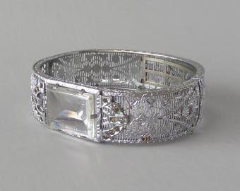"Art Deco Filigree Bracelet with Clear Glass ""Stone""."