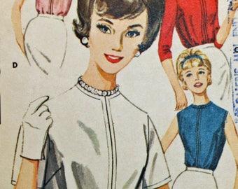 "Vintage 1960s, Sewing Pattern, Butterick 2396, Misses' Back Buttoned Blouse, Misses' Size 14, Bust 34"""