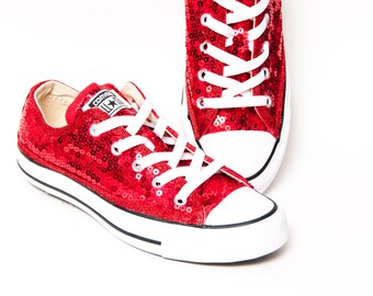 Sequin - Red Canvas Custom Converse Low Top Sneakers Tennis Shoes