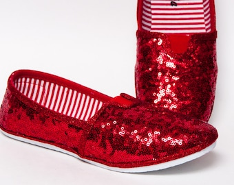 Tiny Sequin - Red Alpargata Canvas Classics Slip On Shoes