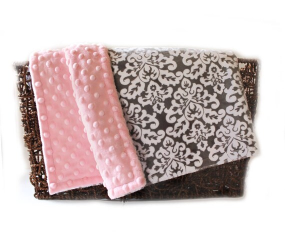 Crib Blanket // 42 x 55 Minky Blanket Girl, Damask Personalized Baby Blanket Crib size Girl // Pink Gray Baby Blanket