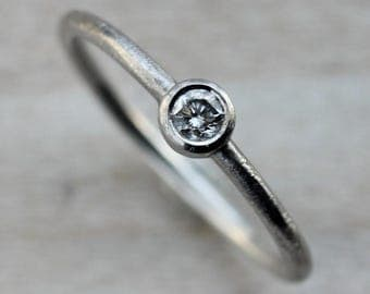 Delicate Eco Friendly Diamond Engagement Ring - 3mm Diamond or Forever One Moissanite with Rustic Textured 14k Gold Band