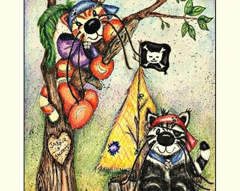 Four blank note cards of cute kittens playing pirates in their pirate ship and in the tree original mini print by Dolores Jablonski