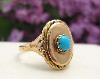 Vintage 14K Gold Persian Turquoise Ring