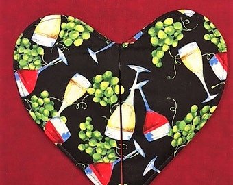 Wine Glass Heart Shaped Pot Holder