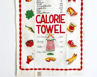 Vintage Tea Towel Calorie Watch Your Weight Gift for Dieter