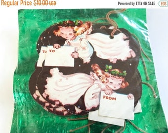 HOLIDAY CLOSEOUT 50% OFF Vintage Christmas Gifts Tags Angels Kaycrest Die Cut String Tags
