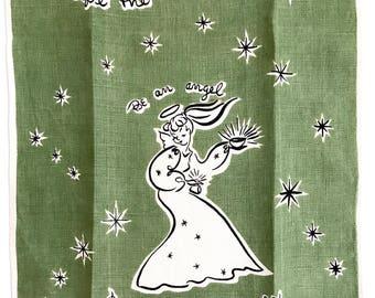 Vintage Towel Mid Century Angels Dishes Atomic Stars Dru Dunn Illustrator
