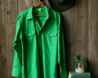 Country Western Shirt Mens Long Sleeve Cowboy Shirt in Bright Kelly Green 70s to 80s Vintage From Nowvintage on Etsy