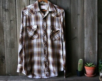Vintage Shirt 70s Wrangler Brown Plaid Mens long Sleve Shirt Vintage From Nowvintage on Etsy