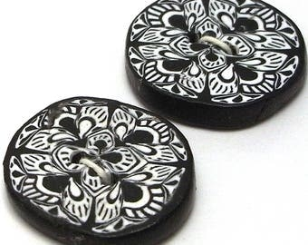 Handmade Buttons Black and White  25mm