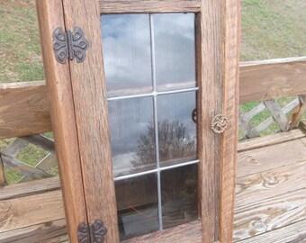 Handmade Rustic Oak Barnwood Medicine or Spice Cabinet With Leaded Glass Door