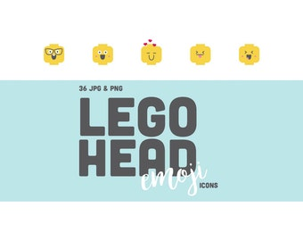 36 Lego Head Smiley Face Emoji Icons - Vector Clipart - PNG & JPG High Quality Images Files - 300DPI