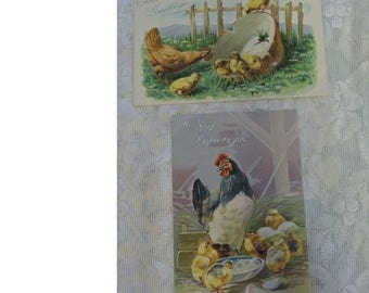2 Vintage Easter Postcards - Two Antique Tuck Easter Postcards