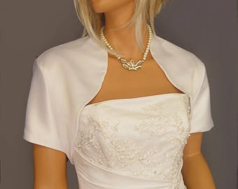 Satin bolero jacket wedding shrug bridal cover up short sleeve SBA100 AVAILABLE in white and 17 other colors. Small through plus size!