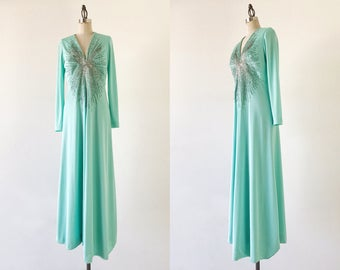 Vintage 1970s Mint Green Long Sleeve V Neck Beaded Minimalist Gown - S