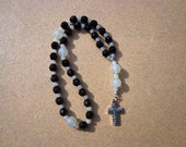 Anglican Episcopal Rosary Faceted Black Glass Beads with Translucent Gray Glass Beads and Silver Tone Cross, Protestant Rosary, Prayer Beads