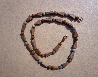 Feldspar Necklace, Gemstone Rounds and Triangles with Antiqued Copper Disk Beads, Unisex Necklace, Confidence Stone, Creativity Stone